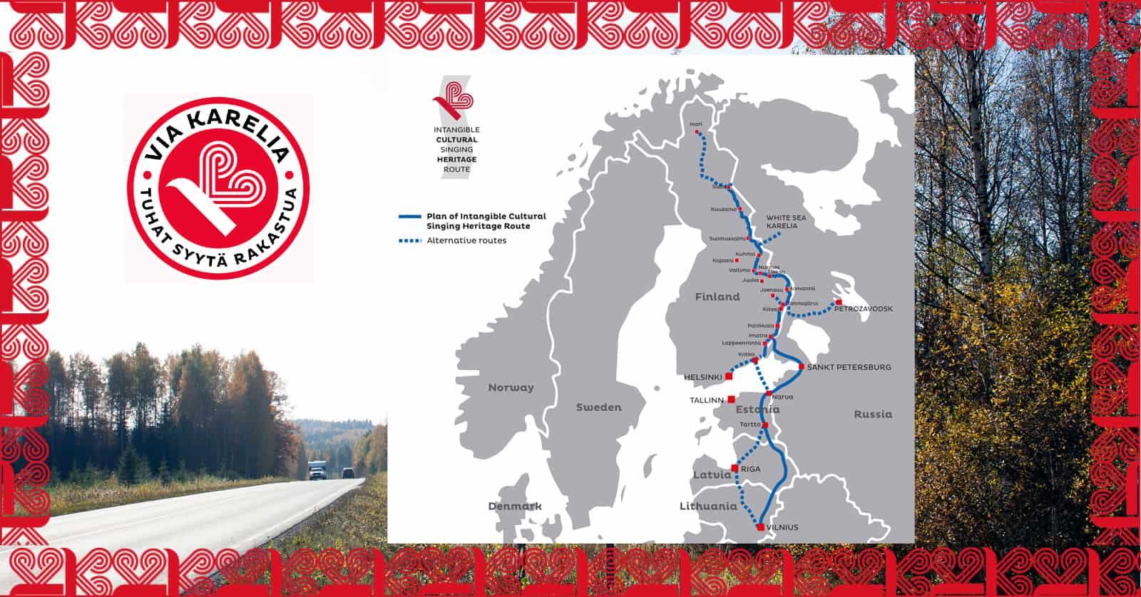 Via Karelia reitti kartalla ja logo